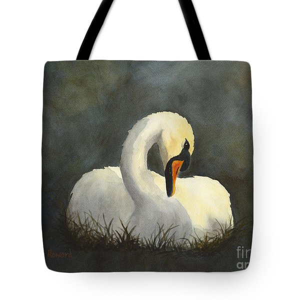 Tote Bag featuring the painting Evening Swan by Phyllis Howard