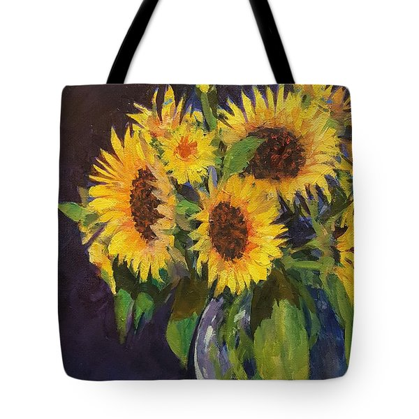 Evening Table Sun Flowers Tote Bag