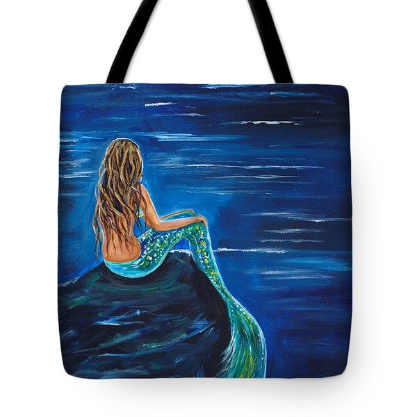 Evening Tide Mermaid Tote Bag by Leslie Allen