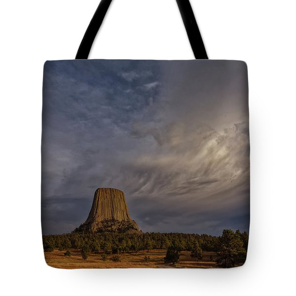Evening Time At Devils Tower Tote Bag