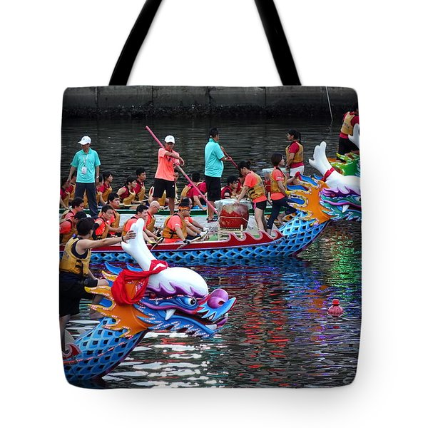 Evening Time Dragon Boat Races In Taiwan Tote Bag