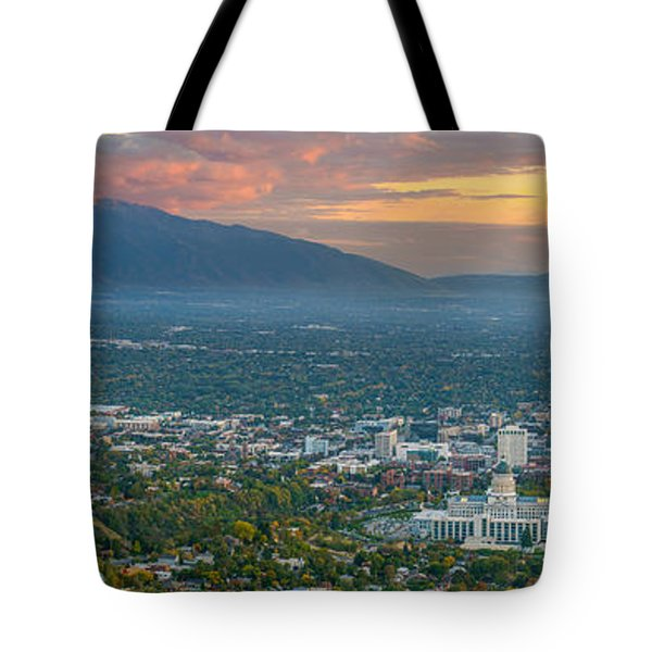 Evening View Of Salt Lake City From Ensign Peak Tote Bag