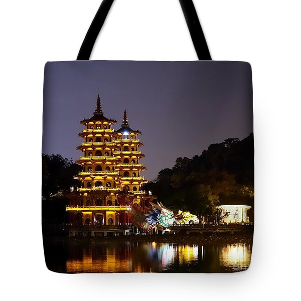 Evening View Of The Dragon And Tiger Pagodas In Taiwan Tote Bag