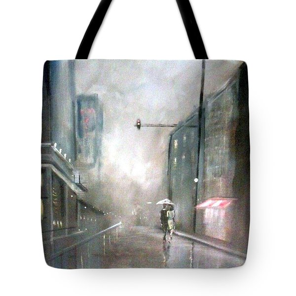 Tote Bag featuring the painting Evening Walk In The Rain by Raymond Doward