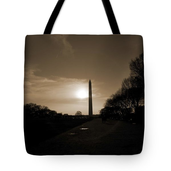 Evening Washington Monument Silhouette Tote Bag