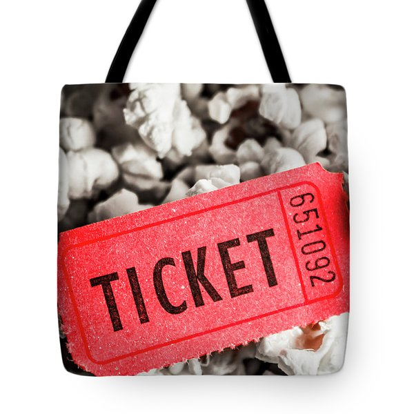 Event Ticket Lying On Pile Of Popcorn Tote Bag