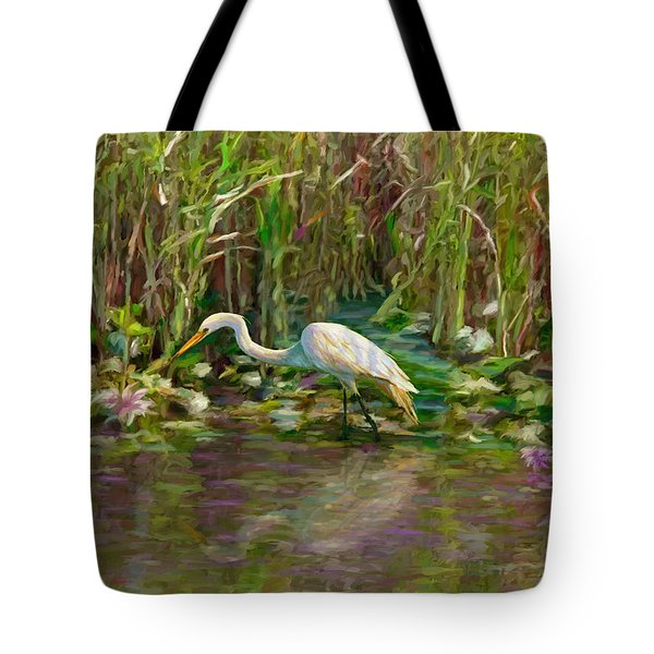Tote Bag featuring the painting Everglades Hunter by David  Van Hulst