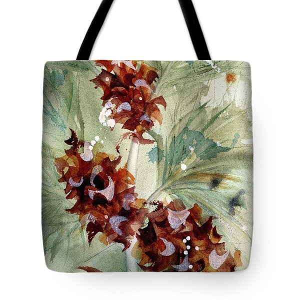 Tote Bag featuring the painting Evergreen Branch by Dawn Derman