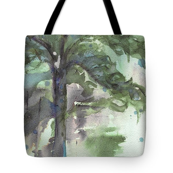 Tote Bag featuring the painting Evergreen by Dawn Derman