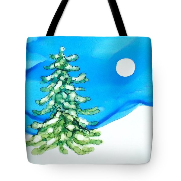 Evergreen Tree In Winter Tote Bag