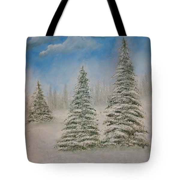 Evergreens In Snow  Tote Bag