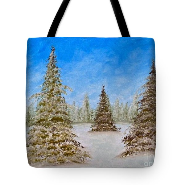 Evergreens In Snowy Field Enhanced Colors Tote Bag