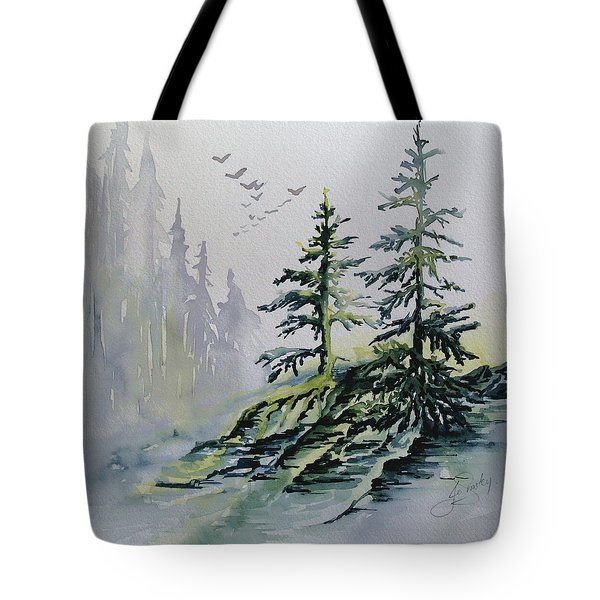 Evergreens In The Mist Tote Bag