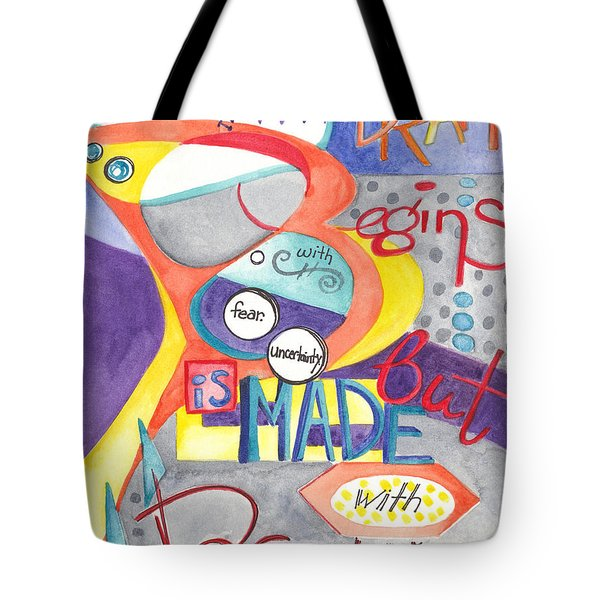 Tote Bag featuring the painting Every Dream Begins by Erin Fickert-Rowland