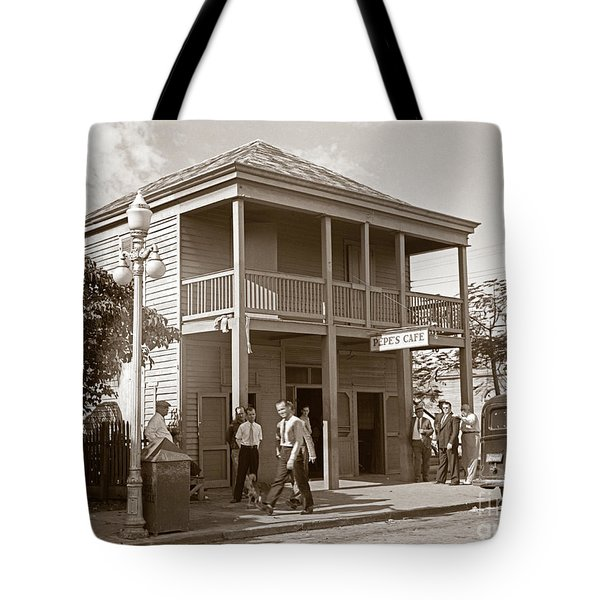 Tote Bag featuring the photograph Everyone Says Hi - From Pepes Cafe Key West Florida by John Stephens