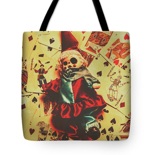 Evil Clown Doll On Playing Cards Tote Bag