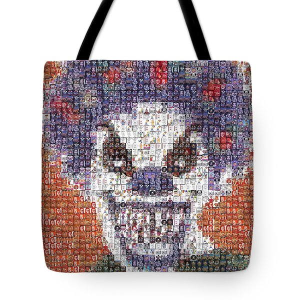 Tote Bag featuring the mixed media Evil Clown Mosaic by Paul Van Scott