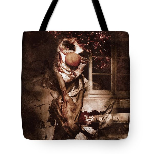Evil Clown Musing With Scary Expression Tote Bag