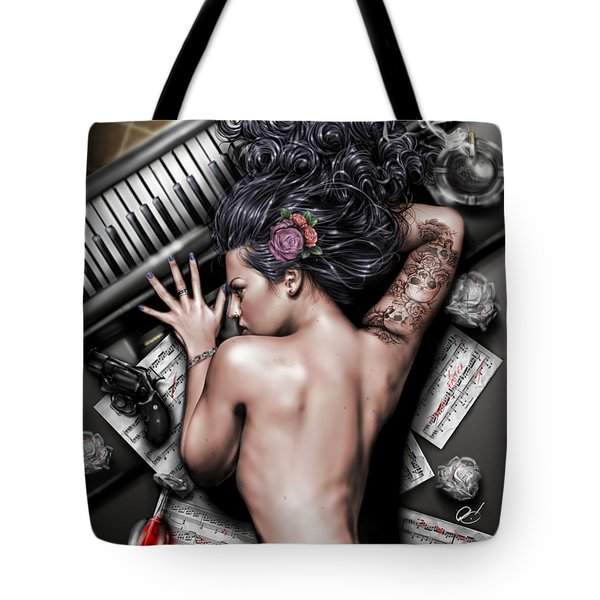 Tote Bag featuring the painting Ex Dono Dei by Pete Tapang