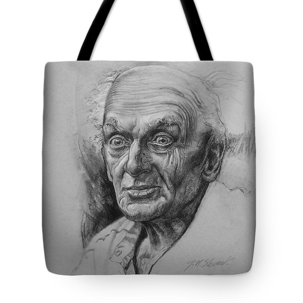 Tote Bag featuring the drawing Excited Man by John Norman Stewart
