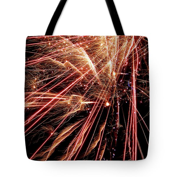 Tote Bag featuring the photograph Exciting Fireworks #0734 by Barbara Tristan