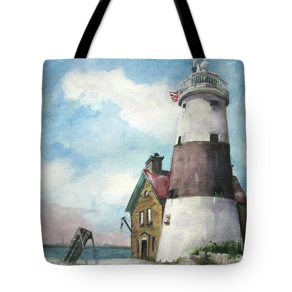 Tote Bag featuring the painting Execution Rocks Lighthouse by Susan Herbst