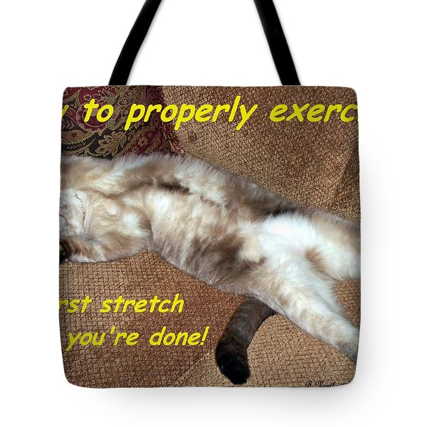 Tote Bag featuring the photograph Exercise 101 by Betty Northcutt