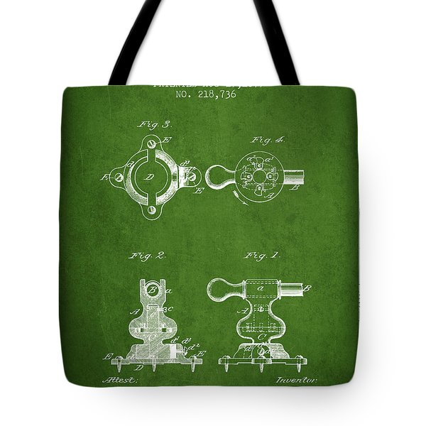 Exercise Machine Patent From 1879 - Green Tote Bag