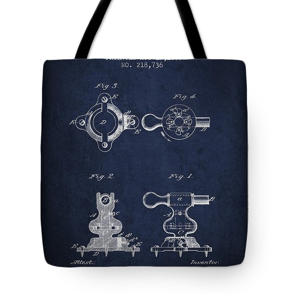 Exercise Machine Patent From 1879 - Navy Blue Tote Bag