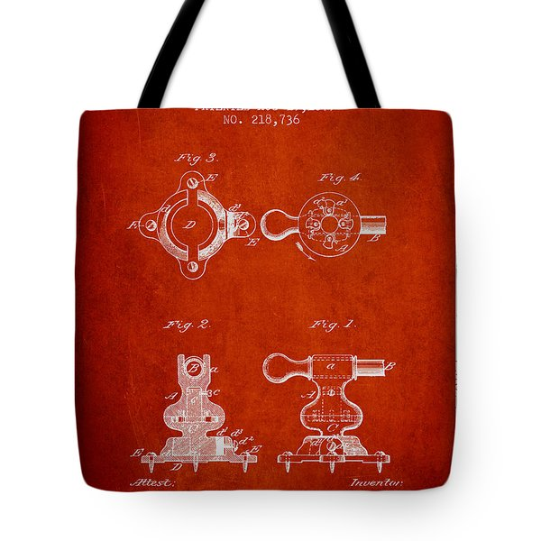Exercise Machine Patent From 1879 - Red Tote Bag