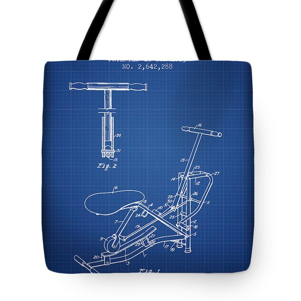 Exercise Machine Patent From 1953 - Blueprint Tote Bag