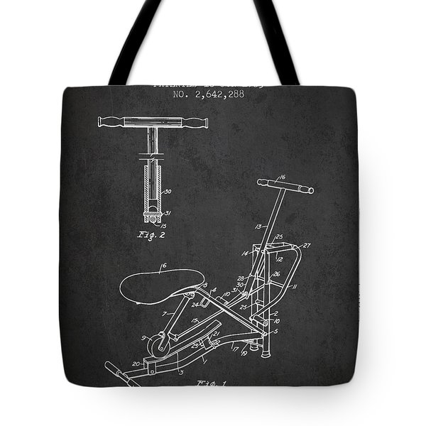 Exercise Machine Patent From 1953 - Charcoal Tote Bag