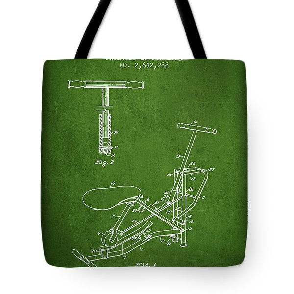 Exercise Machine Patent From 1953 - Green Tote Bag