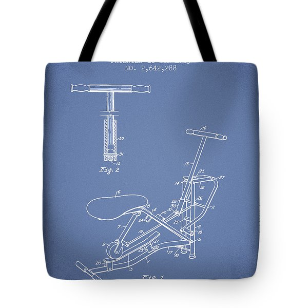 Exercise Machine Patent From 1953 - Light Blue Tote Bag