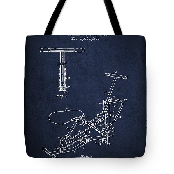 Exercise Machine Patent From 1953 - Navy Blue Tote Bag
