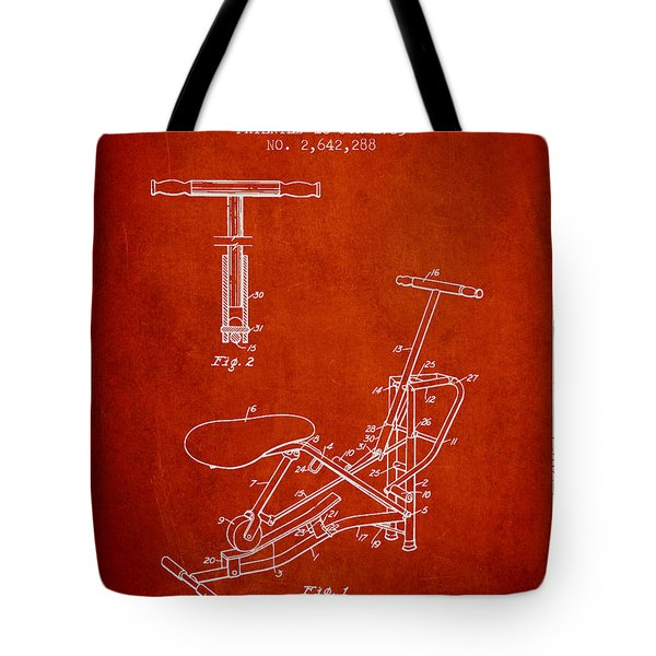 Exercise Machine Patent From 1953 - Red Tote Bag