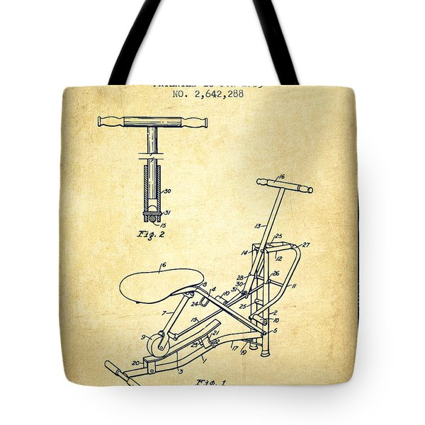 Exercise Machine Patent From 1953 - Vintage Tote Bag