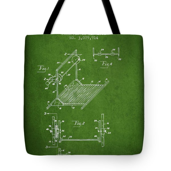 Exercise Machine Patent From 1961 - Green Tote Bag
