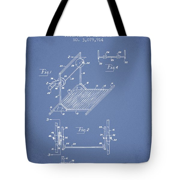 Exercise Machine Patent From 1961 - Light Blue Tote Bag
