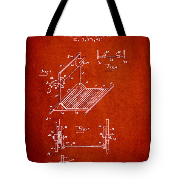 Exercise Machine Patent From 1961 - Red Tote Bag