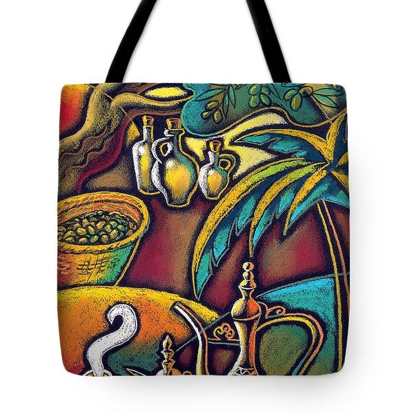 Tote Bag featuring the painting Exotic East, Coffee And Olive Oil by Leon Zernitsky