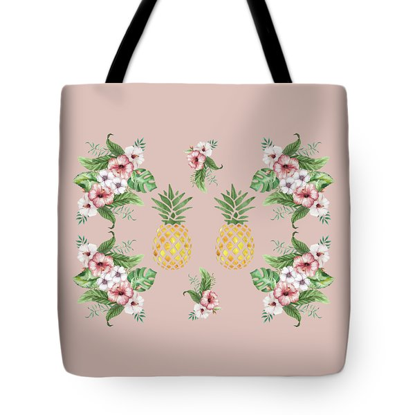Tote Bag featuring the painting Exotic Hawaiian Flowers And Pineapple by Georgeta Blanaru