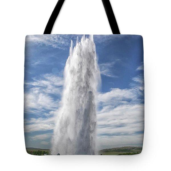 Exploding Geyser In Iceland Tote Bag