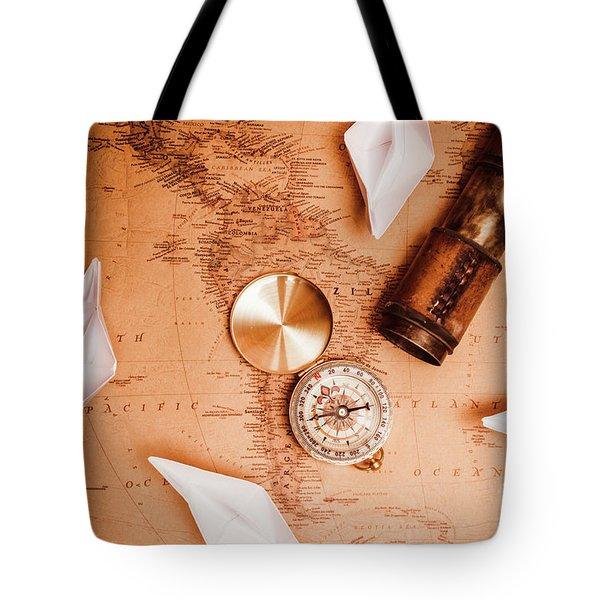 Explorer Desk With Compass, Map And Spyglass Tote Bag