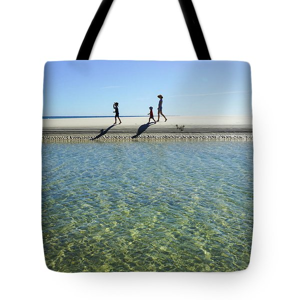 Exploring A Tidal Beach Lagoon Tote Bag