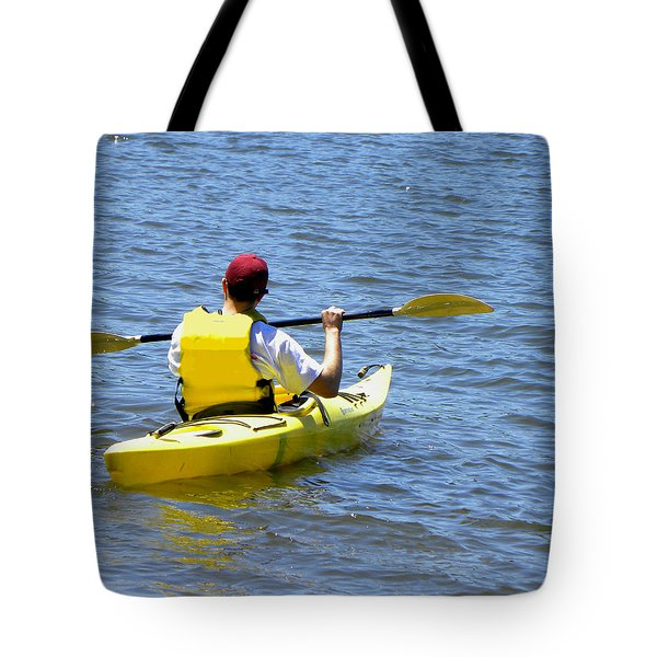 Tote Bag featuring the photograph Exploring In A Kayak by Sandi OReilly