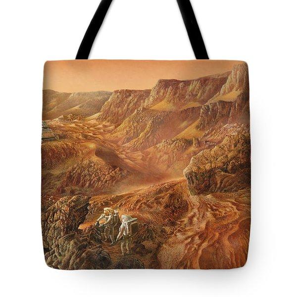 Exploring Mars Nanedi Valles Tote Bag by Don Dixon