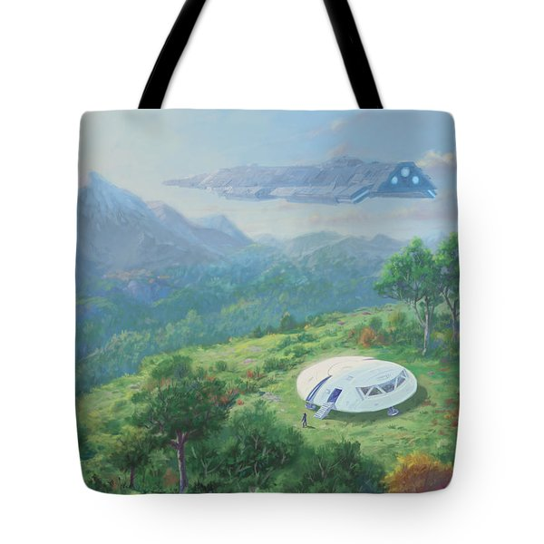 Tote Bag featuring the digital art Exploring New Landscape Spaceship by Martin Davey