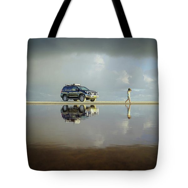 Exploring The Beach On A Rainy Day Tote Bag