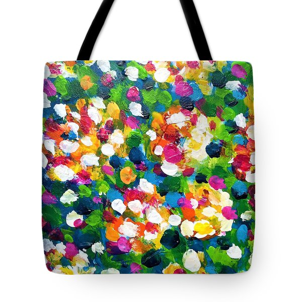Tote Bag featuring the painting Explosion Of Colors by Cristina Stefan